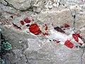 Jasper pebbles in quartzite (Lorrain Formation, Paleoproterozoic, ~2.3 Ga; Ottertail Lake Northeast roadcut, near Bruce Mines, Ontario, Canada) 2 (40742464743).jpg