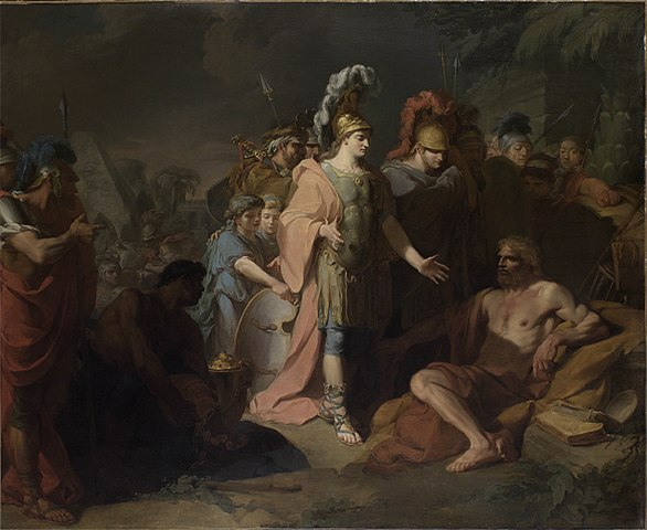 Александр:— Проси у меня что хочешь!Диоген:— Не заслоняй мне солнца!(Жан-Батист Реньо, 1818)