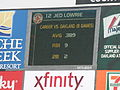 Jed Lowrie's stats vs. A's at Red Sox at A's 2010-07-21.JPG