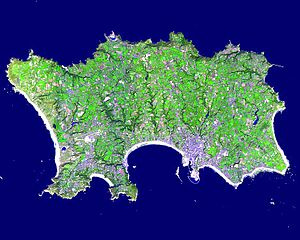 Geography of Jersey - This exaggerated-colour image of Jersey was taken on 23 September 2000, by NASA's Terra satellite.