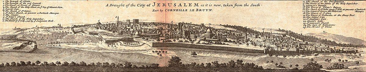 מפת ירושלים עם פירוט האתרים בעיר כפי שהופיעה במפת האימפריה העות'מאנית של הרמן מול (אנ') משנת 1752 המפה מבוססת על ציור ירושלים של ההולנדי קורנליס דה ברוין מ-1681