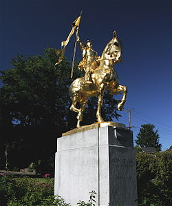 The Joan of Arc statue in Coe Circle, Laurelhurst