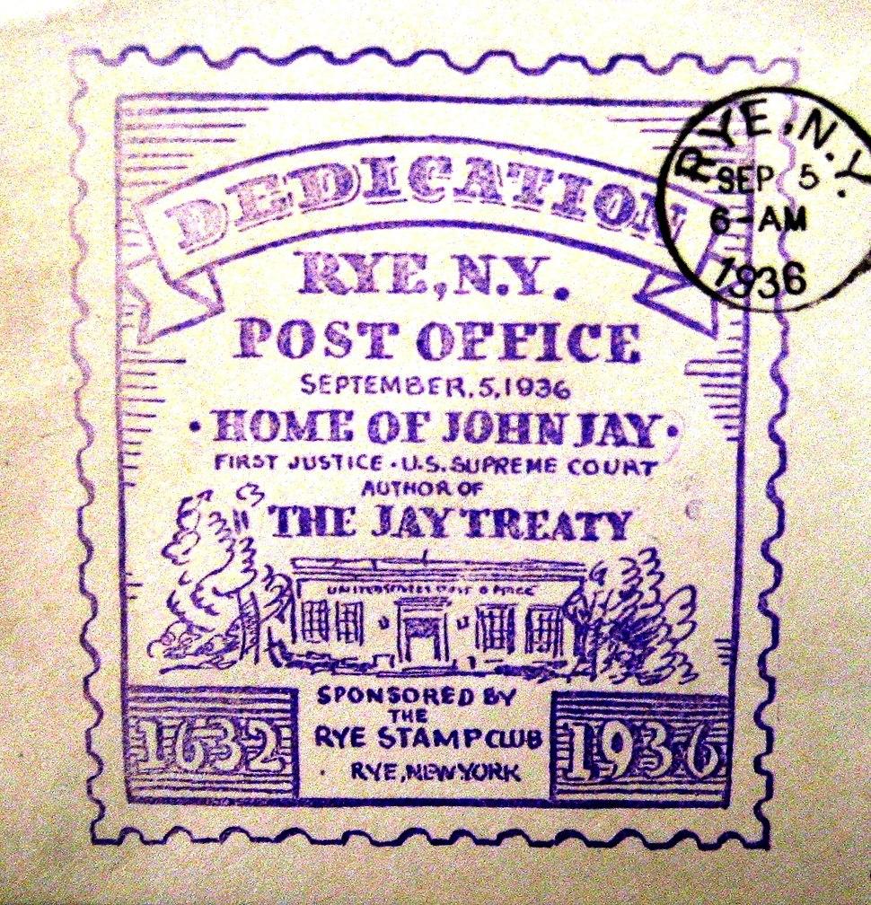 John Jay Dedication & Cancellation by Rye Post Office - September 5, 1936