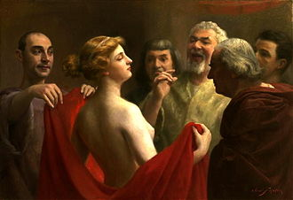 Phryne - Phryne by José Frappa. Phryne is depicted baring her breasts before the jury.