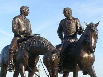 Death of Joseph Smith - Joseph and Hyrum Smith monument, entitled Last Ride, is in front of the Nauvoo Illinois Temple