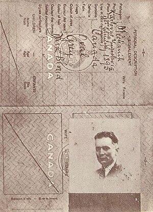 "Josip Broz Tito - Fake Canadian ID, ""Spiridon Mekas"", used for returning to Yugoslavia from Moscow, 1939"