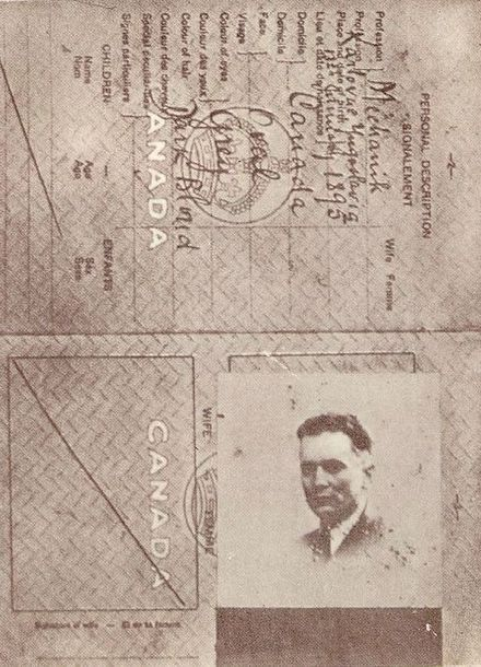 "Fake Canadian ID, ""Spiridon Mekas"", used for returning to Yugoslavia from Moscow, 1939 Josip Broz Tito's fake Canadian ID, 1939.jpg"