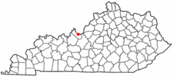 Location of Brandenburg, Kentucky