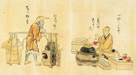 Due artigiani del periodo Edo preparano un tè