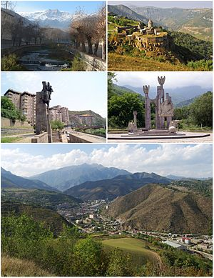 From top left: Mount Khustup and Vachagan River • Tatev Monastery Monument to David Bek • Garegin Nzhdeh's memorial Kapan skyline