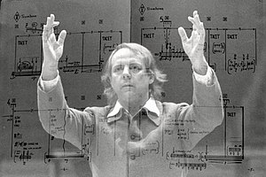 Stop (Stockhausen) - Stockhausen conducting in 1980, superimposed on a page from Stop
