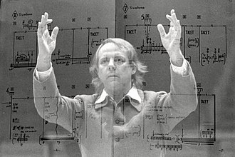Multiple exposure - Composer Karlheinz Stockhausen, double exposure made using a film camera, 1980