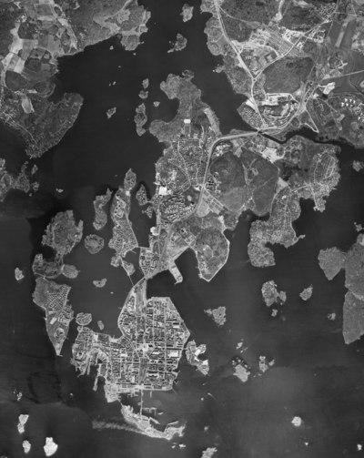 Luftfoto over Karlskrona fra cirka 1960.
