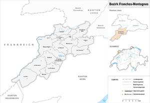 Franches-Montagnes District - Image: Karte Bezirk Franches Montagnes 2009