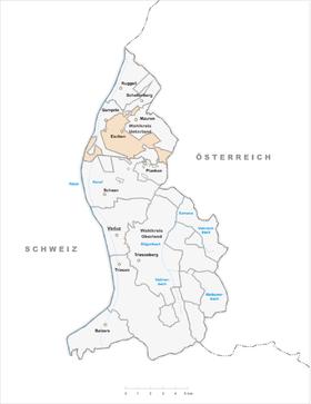 Liechtenstein im fürstentum liechtenstein anklickbare karte