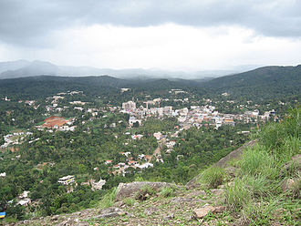 Kattappana - A distant view of Kattappana town