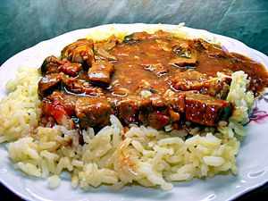 Bulgarian cuisine - Bulgarian Kebab with Rice.