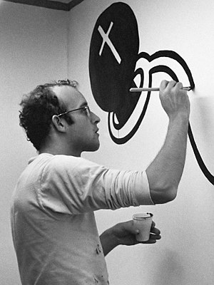 Keith Haring - Haring painting a mural at the Stedelijk Museum in Amsterdam, 1986