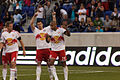 Kenny Cooper points to Thierry Henry, New York Red Bulls vs San Jose Earthquakes.jpg