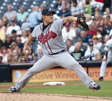 Kenshin Kawakami pitching for the Braves in 2009 Kenshin Kawakami on August 3, 2009.jpg
