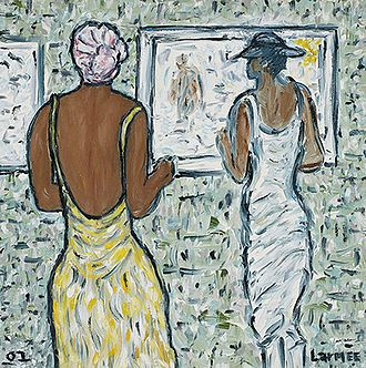 "Kevin Larmee - Two Ladies   Oil on canvas, 20"" x 20"", 2002"