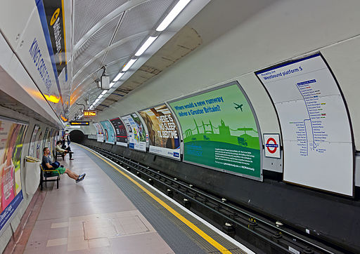 King's Cross tube station Piccadilly Line westbound platform late at night