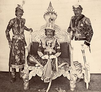 Surendra of Nepal - Picture of King Surendra Bikram Shah with two body guards taken by the then British Assistant Resident Clarence Comyn Taylor around 1862-1865.