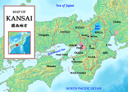 Kansai region with prefectures
