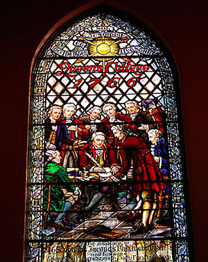 Theodorus Jacobus Frelinghuysen - Stained glass window at Kirkpatrick Chapel honoring the Frelinghuysen family