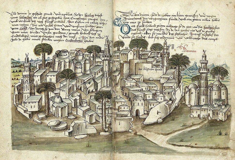 Konrad von Grünenberg - Beschreibung der Reise von Konstanz nach Jerusalem - Blatt 31v-32r