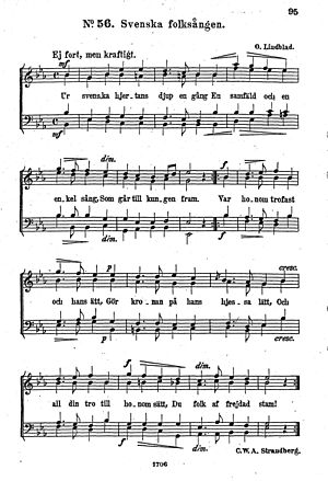 Kungssången - The original music for male chorus by Otto Lindblad.