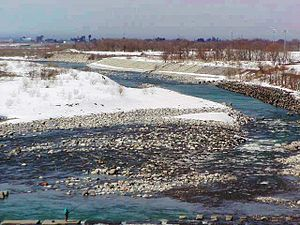Kurobe River - The river as it flows through Kurobe, Toyama. (March 2005)