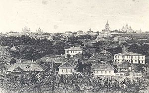 Zincography - A panoramic image of Kiev, Ukraine (circa 1870–1880) using the zincographic process.