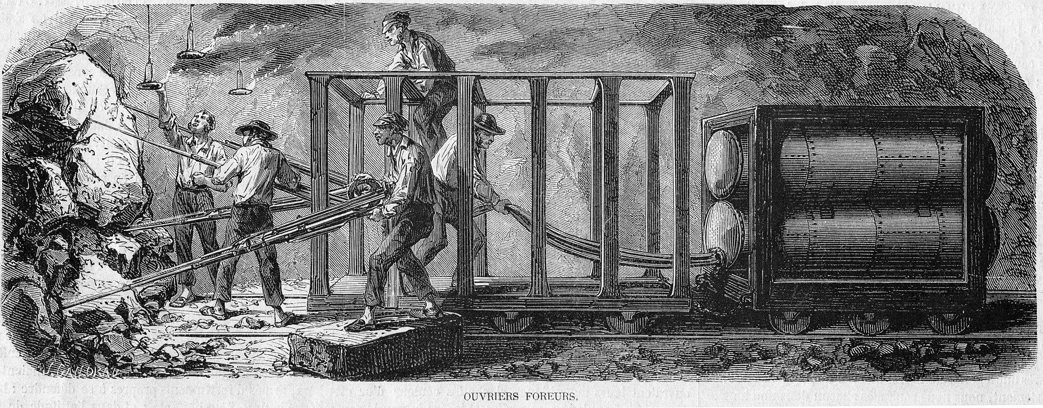 L'Illustration 1862 gravure Percement du Mont Cenis 02, ouvriers foreurs