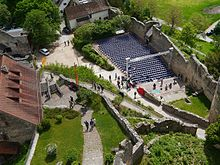 overhead view of the outer bailey of Rötteln castle with the open air theatre