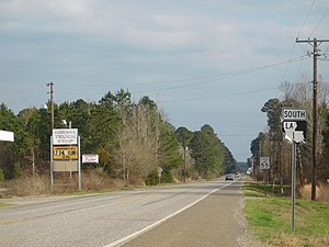 Louisiana Highway 1 - LA 1 in Caddo Parish, after crossing into Louisiana
