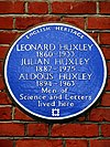 LEONARD HUXLEY 1860-1933 JULIAN HUXLEY 1887-1975 ALDOUS HUXLEY 1894-1963 Men of Science and Letters lived here.jpg
