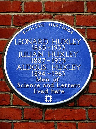 Aldous Huxley - English Heritage blue plaque at 16 Bracknell Gardens, Hampstead, London, commemorating Aldous, his brother Julian, and father Leonard