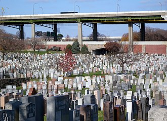 Calvary Cemetery (Queens, New York) - A view of the cemetery showing the Long Island Expressway