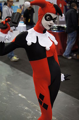 Cosplayer verkleed als Harley Quinn tijdens London Super Comic Convention 2012.