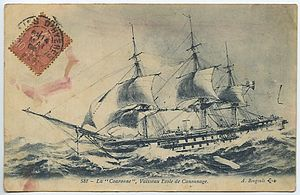 French ironclad Couronne - A lithograph postcard of  Couronne sailing in heavy seas