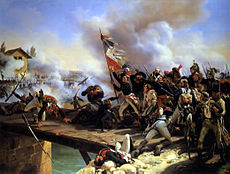 Painting shows a man holding a diamond-pattern French red, white, and blue regimental flag. He is leading a crowd of blue-coated soldiers across a bridge toward ranks of enemy soldiers.