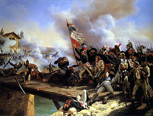 Battle of Arcole - Napoleon Bonaparte leading his troops over the bridge of Arcole, by Horace Vernet.