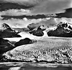 La Perouse Glacier, tidewater glacier terminus with seracs in the foreground and icefall in the background, September 16, 1966 (GLACIERS 5567).jpg