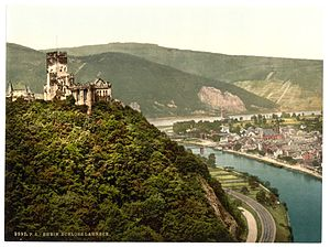 Lahneck Castle - The castle in 1905, shown looming over the city of Lahnstein