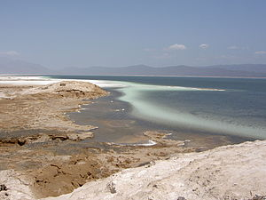Lake Assal (Djibouti) - Lake Assal, with the salt pan on the left