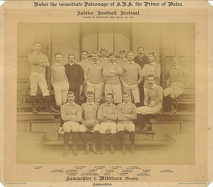 Broughton supplied four players for the Lancashire county rugby team in 1887 Lancashire county rugby team 1887.jpg