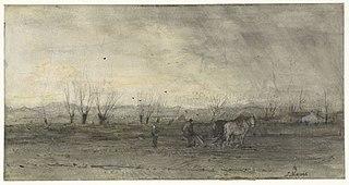 Landschap met ploegende boer