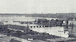 Langebro - Langebro in c. 1860 from the tower of Christian's Church