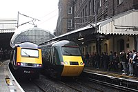 Last day of GWR HSTs - all together at Paddington 43162 and 43188.JPG